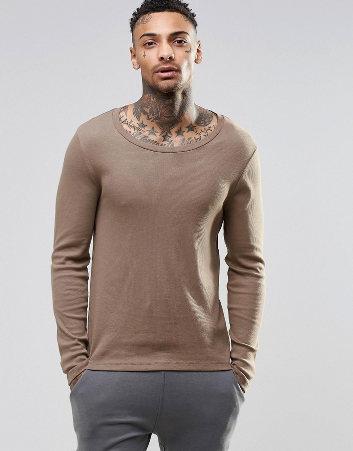 Asos Brand Rib Extreme Muscle Long Sleeve T Shirt With Scoop Neck ...