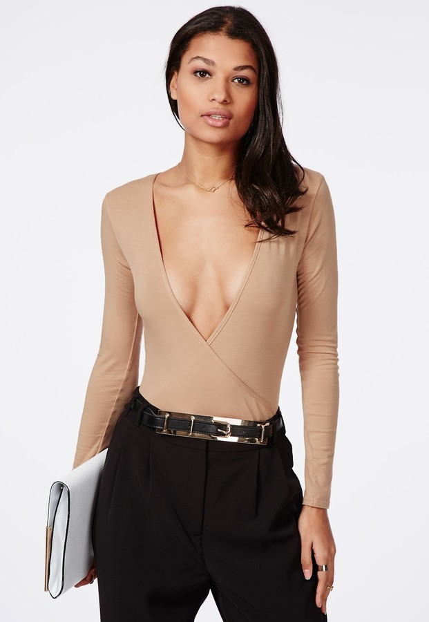 30 Missguided Long Sleeve Wrap Over Plunge Bodysuit Nude
