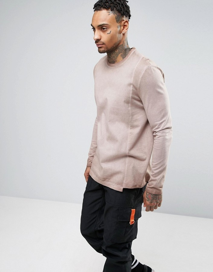 da570c6db4e3c5 ... Asos Oversized Long Sleeve T Shirt With Woven Panels And Pigt Wash ...