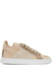 MM6 MAISON MARGIELA Beige Leather Suede Low Top Sneakers