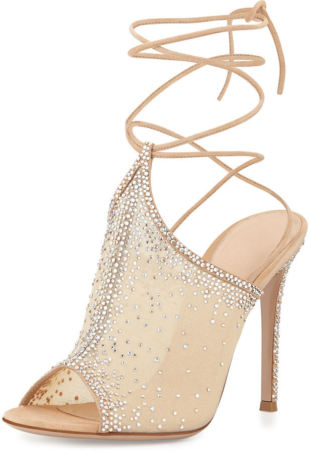 Women's Fashion › Footwear › Sandals › Heeled Sandals › Tan Mesh Heeled Sandals  Gianvito Rossi Etoile Crystal Lace Up Sandal Nude ...
