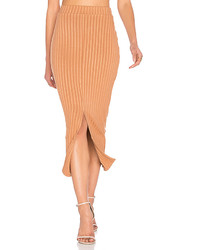 Lavish alice flounce hem midi skirt in tan medium 5209520