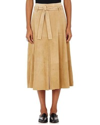 Robert Rodriguez Suede Belted Midi Skirt