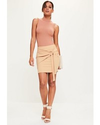 Nude jersey crepe tie front mini skirt medium 3714120
