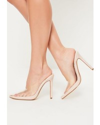 Missguided Nude Pointed Toe Clear Heeled Mules