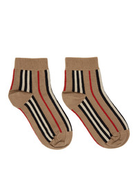 Burberry Beige Stripe Short Socks