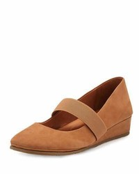 Tan Nubuck Ballerina Shoes