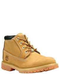 Tan Nubuck Lace-up Flat Boots