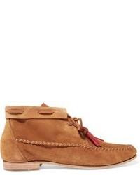 Soludos Tassel Trimmed Nubuck Moccasin Ankle Boots