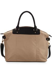Tan Nylon Tote Bag