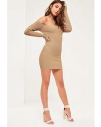 Missguided Camel Choker Ribbed Bardot Mini Sweater Dress