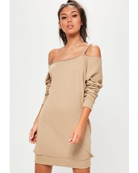 Missguided Nude Strap Detail Off Shoulder Sweater Dress