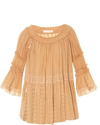 Chloé Chlo Off The Shoulder Broderie Anglaise Top