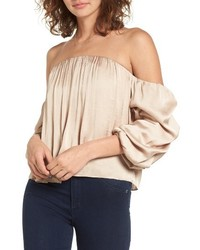 Leith Gathered Satin Off The Shoulder Top
