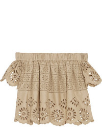 Off the shoulder broderie anglaise cotton top beige medium 1044740