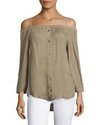 Off the shoulder button down blouse medium 3748047