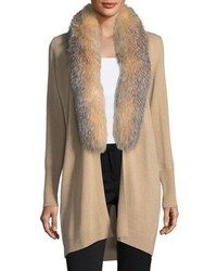 Neiman Marcus Cashmere Collection Luxury Oversized Cashmere Cardigan W Fox Fur Collar