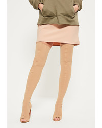 Missguided Nude Neoprene Thigh High Peep Toe Booties