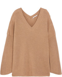 Stella McCartney Oversized Ribbed Wool Sweater Camel