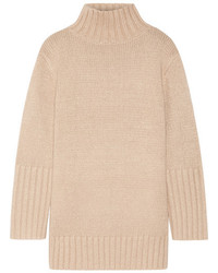 Oversized silk mohair wool and cashmere blend turtleneck sweater beige medium 4393250