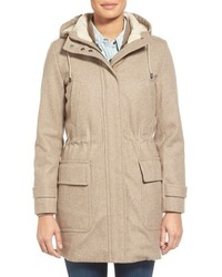 Cole Haan 4 In 1 Wool Blend Parka With Faux Shearling Trim Jacket Liner