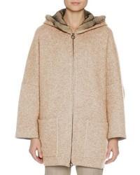 Cashmere zip front parka with mink fur hood camel medium 3719626