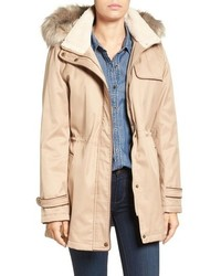 Faux shearling faux fur trim water repellent parka with detachable hood medium 809172