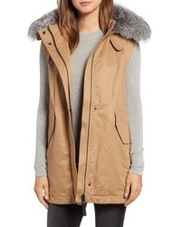 Derek Lam 10 Crosby Genuine Fox Cotton Blend Vest Parka