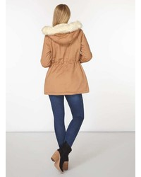 Tan Faux Fur Leather Trim Parka Coat