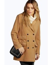 Boohoo Amy Double Breasted Wool Look Coat