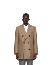AMI Alexandre Mattiussi Beige Wool Double Breasted Short Coat