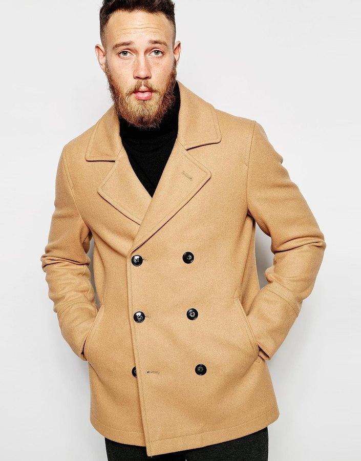 ... Asos Brand Wool Peacoat In Camel