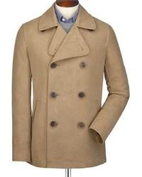 Charles Tyrwhitt Camel Cotton Linen Canvas Pea Coat