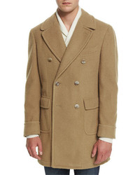 Lubiam Double Breasted Wool Blend Pea Coat Camel