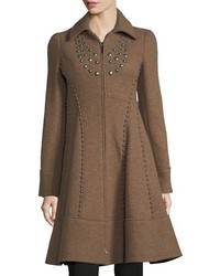 Nanette Lepore Grace Studded Zip Front Wool Pea Coat