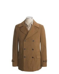 Hart, Schaffner and Marx Twill Pea Coat Cotton Dark Tan