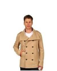 Just Cavalli Funnel Neck Overcoat Coat Camel