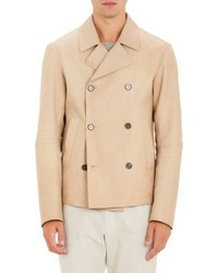 Jil Sander Leather Double Breasted Peacoat