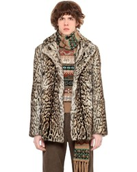Roberto Cavalli Leopard Printed Lapin Fur Pea Coat