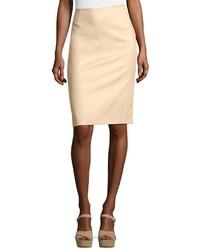 Lafayette 148 New York Cotton Blend Pencil Skirt Tan