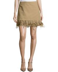 Brunello Cucinelli Feather Trim Mini Skirt Light Brown