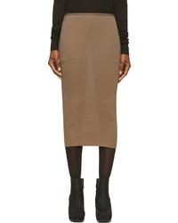 Rick Owens Lilies Tan Jersey Pencil Skirt
