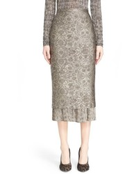 Max Mara Pleated Hem Jacquard Pencil Skirt