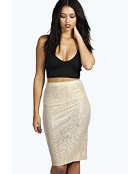 Boohoo Verity Metallic Midi Skirt
