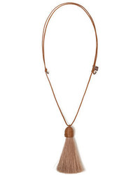 Akris Leather Tassel Pendant Necklace