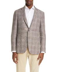 Canali Classic Fit Plaid Linen Wool Sport Coat
