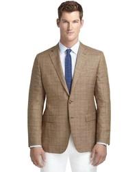 Brooks Brothers Fitzgerald Fit Tan Plaid With Rust Windowpane Sport Coat