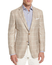 Gregory windowpane two button sport coat tan medium 702241