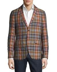 Madras plaid linen cotton blazer beige medium 3648606