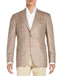 Slim fit windowpane silk wool sportcoat medium 702242